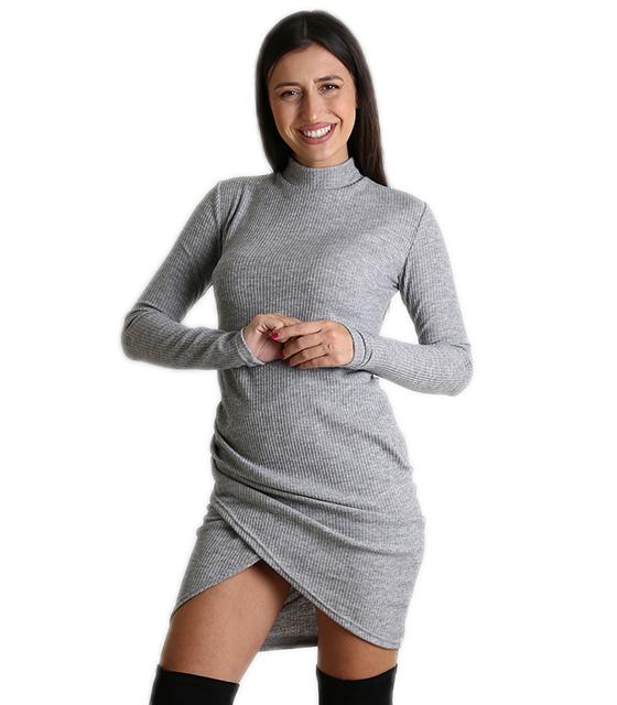 Ασύμμετρο εφαρμοστό φόρεμα ζιβάγκο (Ανοιχτό Γκρι) ρούχα   φορέματα