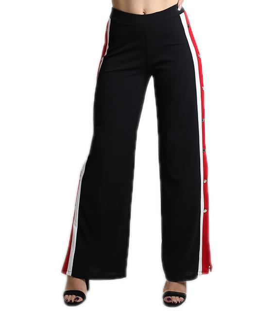 Ψηλόμεσο παντελόνι με ρίγες στο πλάι και κουμπιά (Μαύρο)