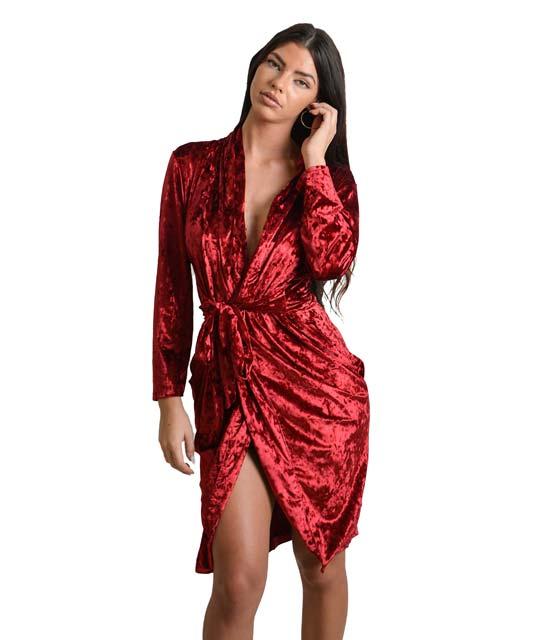 Φόρεμα από βελούδο κρουαζέ με ζώνη (Μπορντό) ρούχα   φορέματα