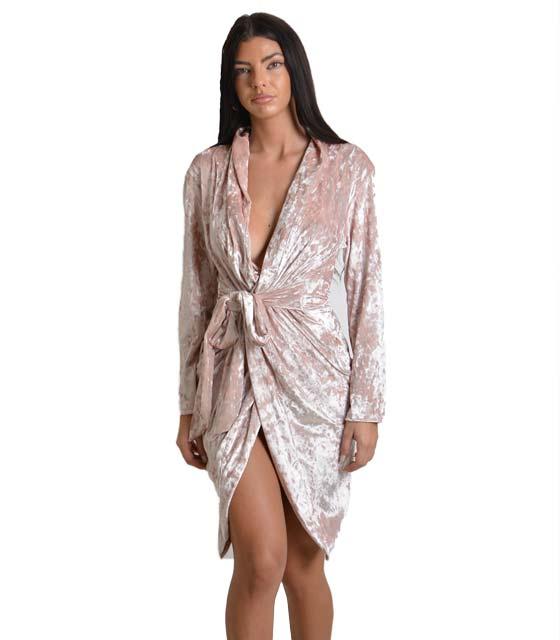 Φόρεμα από βελούδο κρουαζέ με ζώνη (Ροζ) ρούχα   φορέματα