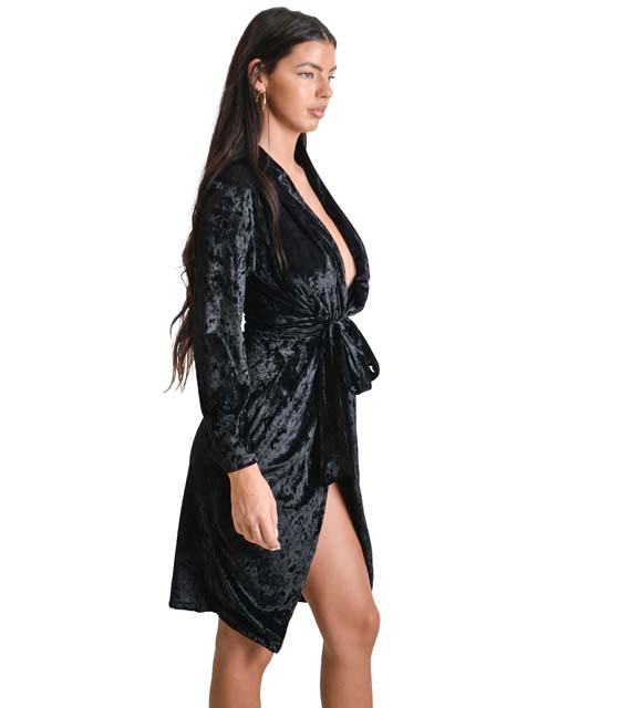 Φόρεμα από βελούδο κρουαζέ με ζώνη (Μαύρο) ρούχα   φορέματα