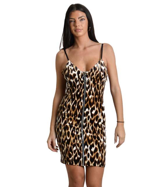 Μίνι φόρεμα τιγρέ με φερμουάρ και αποσπώμενες τιράντες