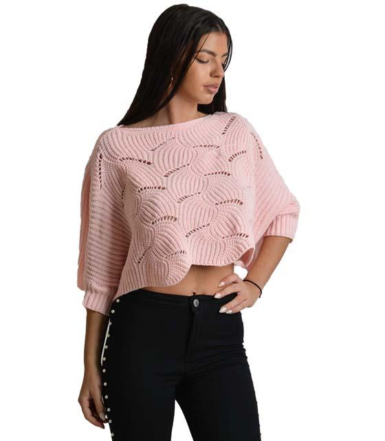 Ροζ μπλούζα μακρυμάνικη πλεκτή
