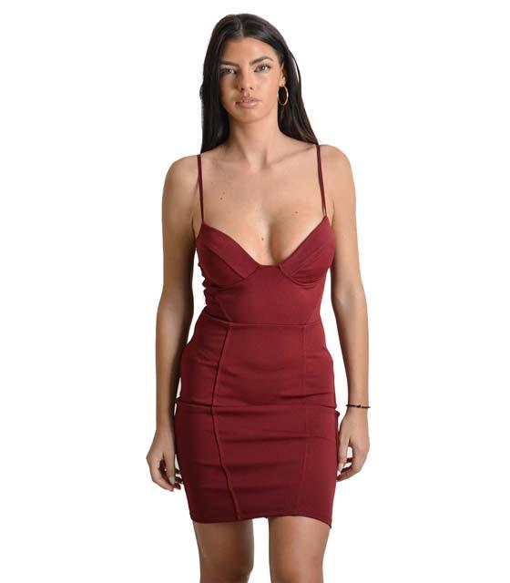 Μίνι φόρεμα με επένδυση και αποσπώμενες τιράντες (Μπορντό)