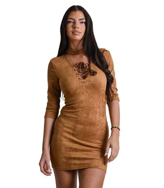 Φόρεμα κάμελ σουέτ με κορδόνια χιαστή μπροστά
