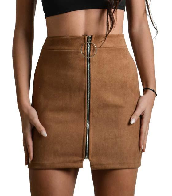 Σουέτ φούστα με φερμουάρ στην μέση (Κάμελ)