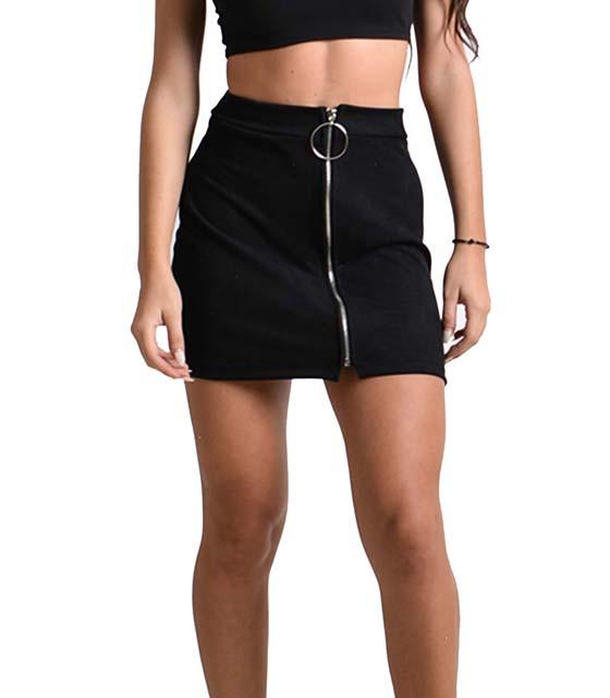 Σουέτ φούστα με φερμουάρ στην μέση (Μαύρη)