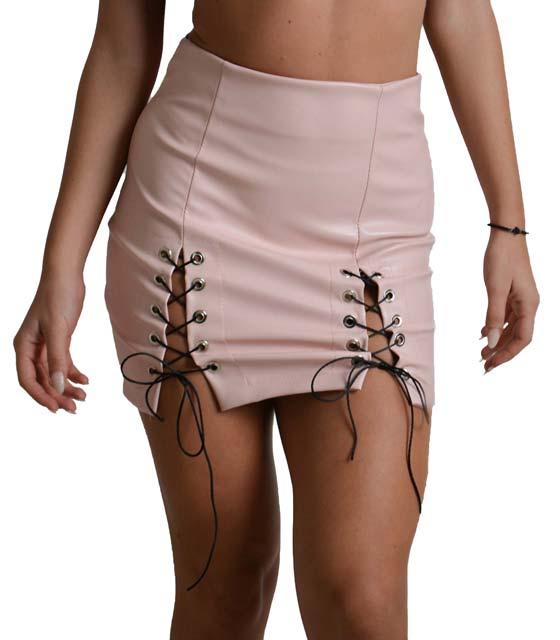 Μίνι φούστα με φερμουάρ και λεπτομέρεια δεσίματα (Ροζ)