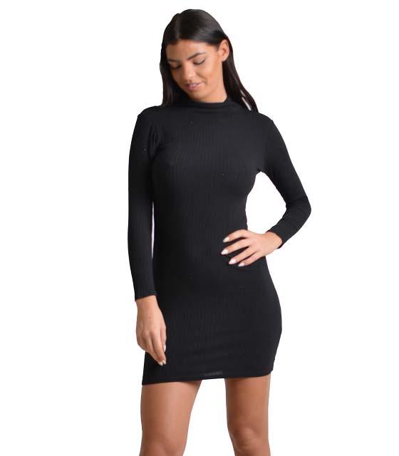 Πλεκτό φόρεμα ριπ με τσόκερ και δεσίματα (Μαύρο)