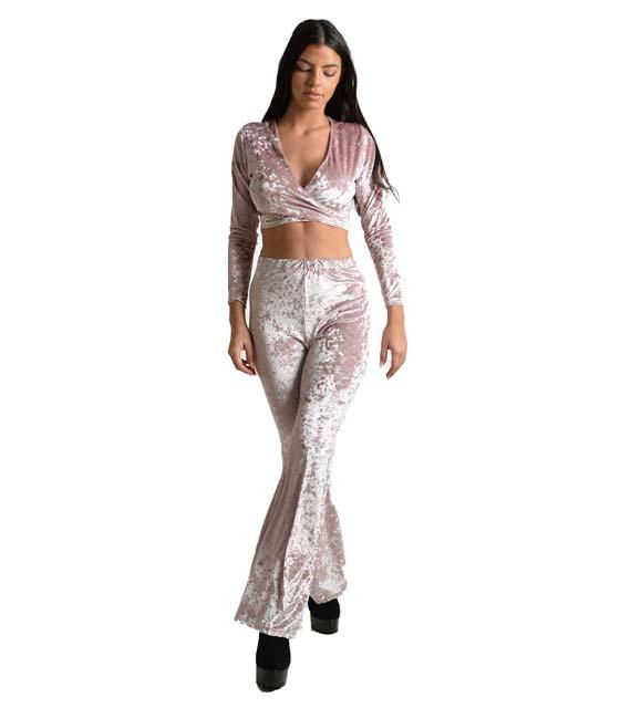 Βελούδινο σετ τοπ - παντελόνι καμπάνα (Ροζ)