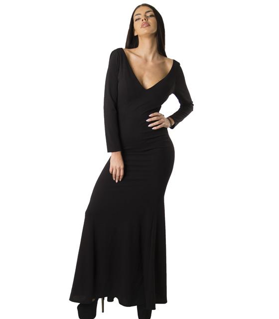 Μάξι φόρεμα με δέσιμο στην πλάτη (Μαύρο) ρούχα   φορέματα   μάξι φορέματα