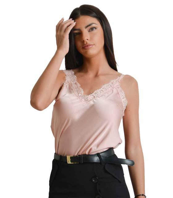 Σατέν τοπ με λεπτομέρεια δαντέλα (Ροζ) ρούχα   μπλούζες   top   τοπάκια   μπουστάκια