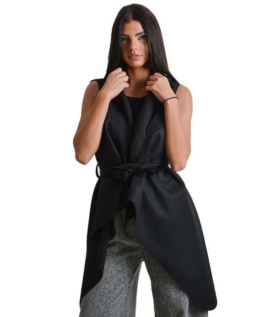Αμάνικο παλτό με ζώνη (Μαύρο)