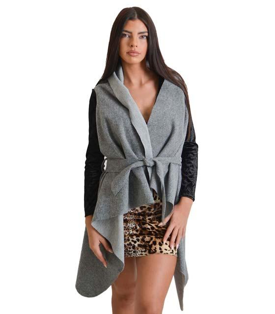 Αμάνικο παλτό με ζώνη (Γκρι)