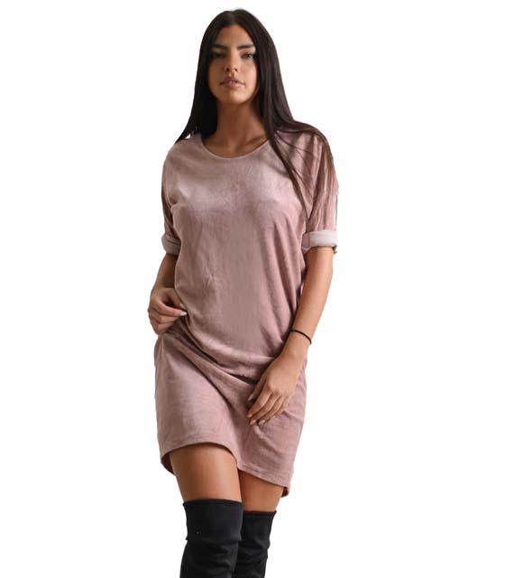 Βελούδινο φόρεμα με 3/4 μανίκι (Ροζ)
