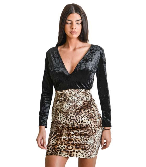 Μαύρο φόρεμα με μικρό λεοπάρ σχέδιο και ανοιχρτή πλάτη