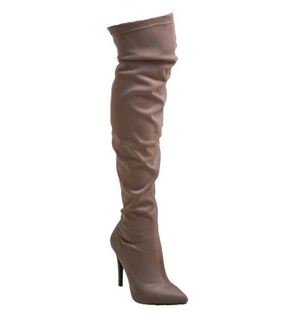 Μπεζ μπότα κάλτσα ελαστική