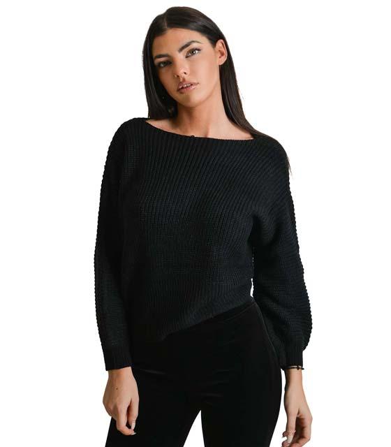Πλεκτή μπλούζα με δέσιμο μπροστά (Μαύρο)