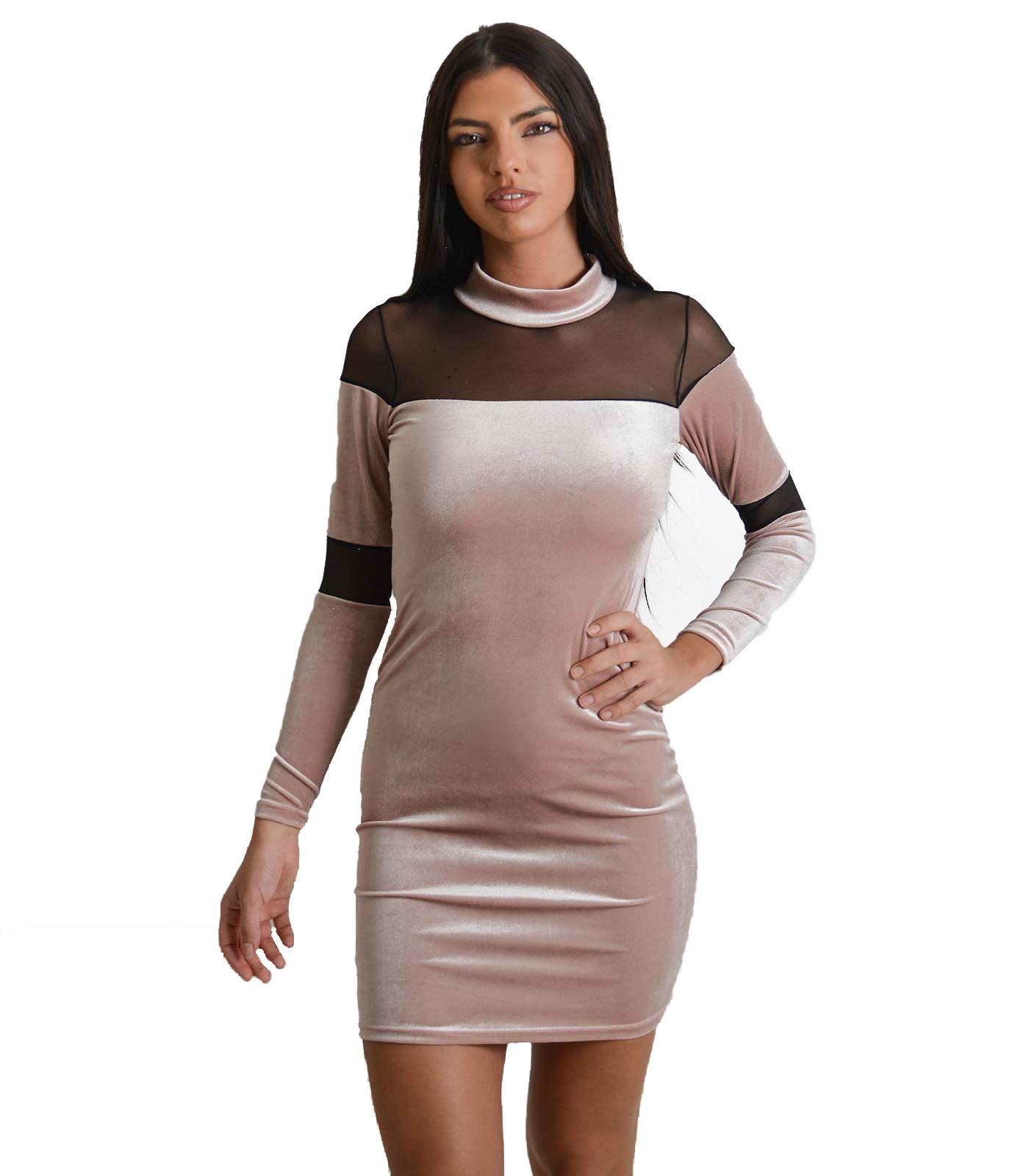 Φόρεμα με λωρίδες διαφάνεια (Ροζ)