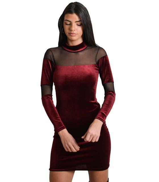 Φόρεμα με λωρίδες διαφάνεια (Μπορντό)