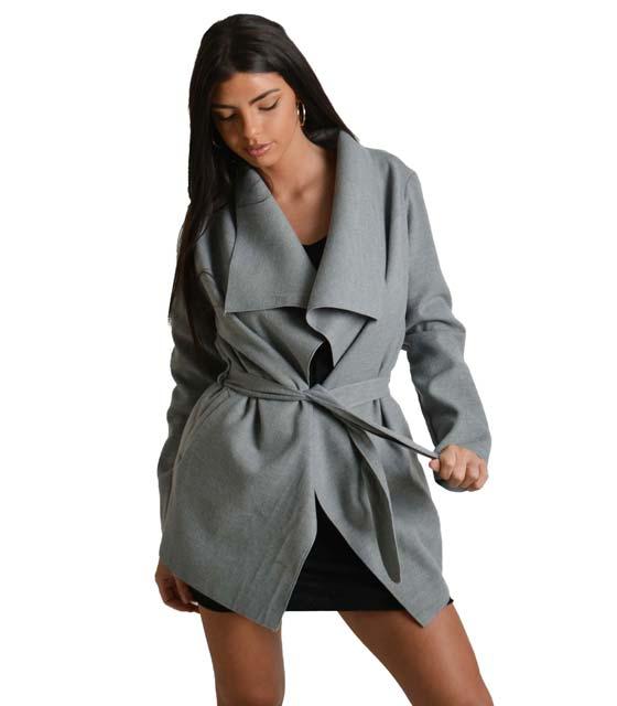 Γκρί παλτό κοντό με ζώνη