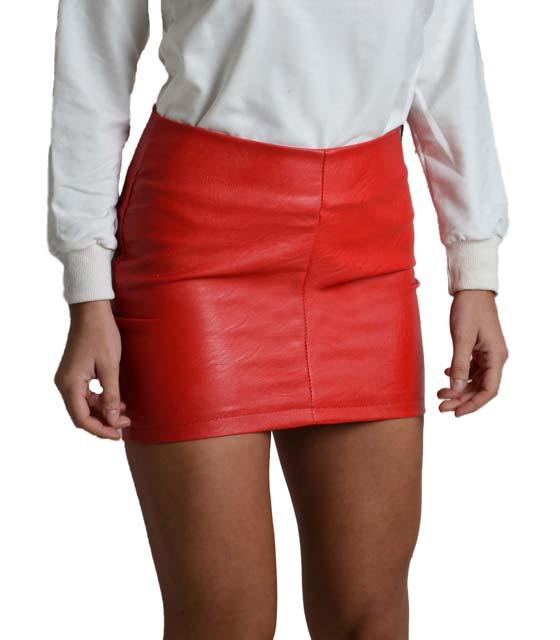 Φούστα δερματίνη με φερμουάρ (Κόκκινη) ρούχα   bottoms   φούστες