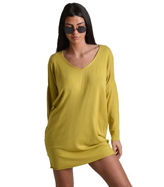 Ελαστικό πλεκτό φόρεμα (Κίτρινο)