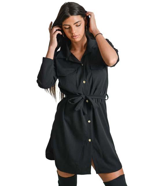 Μαύρο φόρεμα με τσέπες και ζώνη