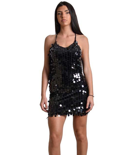 Φόρεμα με πούλιες και ρυθμιζόμενες τιράντες (Μαύρο)