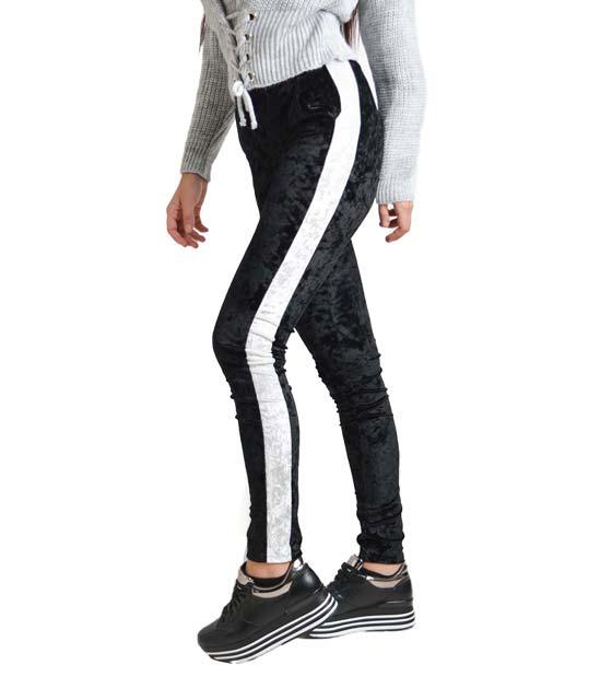 Βελούδινο παντελόνι με ρίγα στο πλάι (Μαύρο)