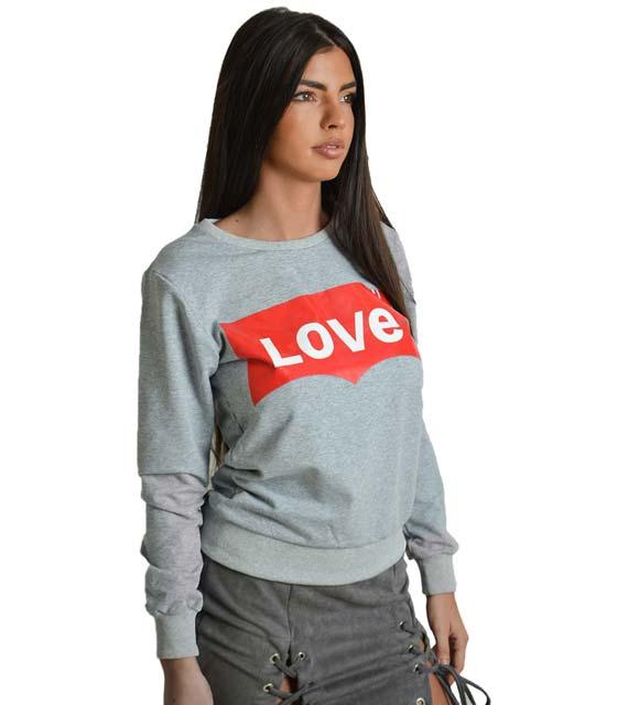 Γκρι μπλούζα φούτερ με τύπωμα ''LOVE''