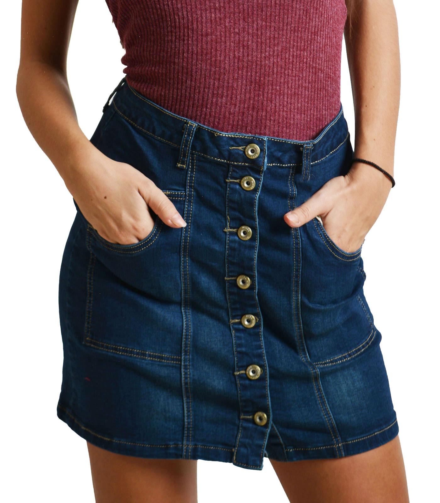 Τζιν φούστα με τσέπες και κουμπιά