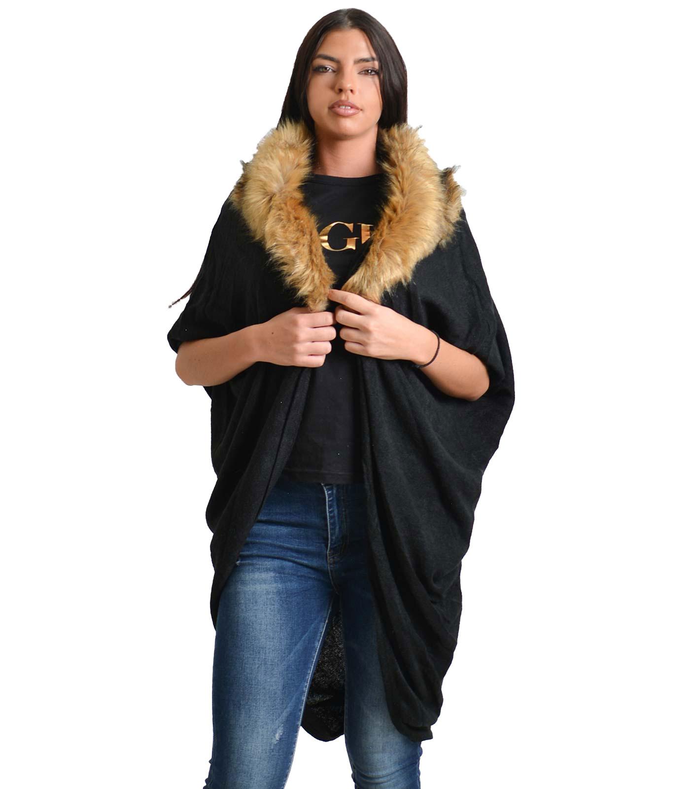 Ζακέτα πλεκτή με αποσπώμενο γιακά γούνινο (Μαύρη)