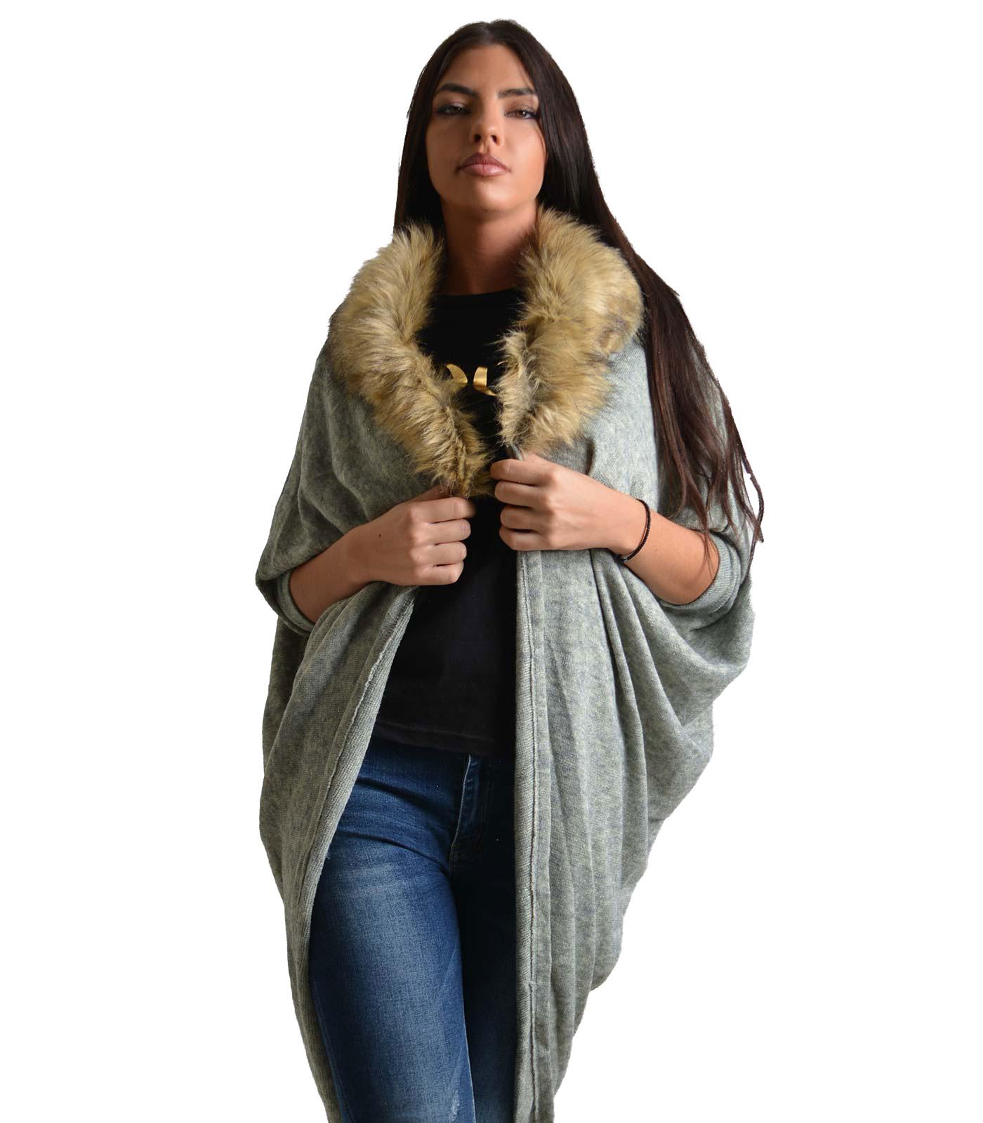 Ζακέτα πλεκτή με αποσπώμενο γιακά γούνινο (Γκρι)