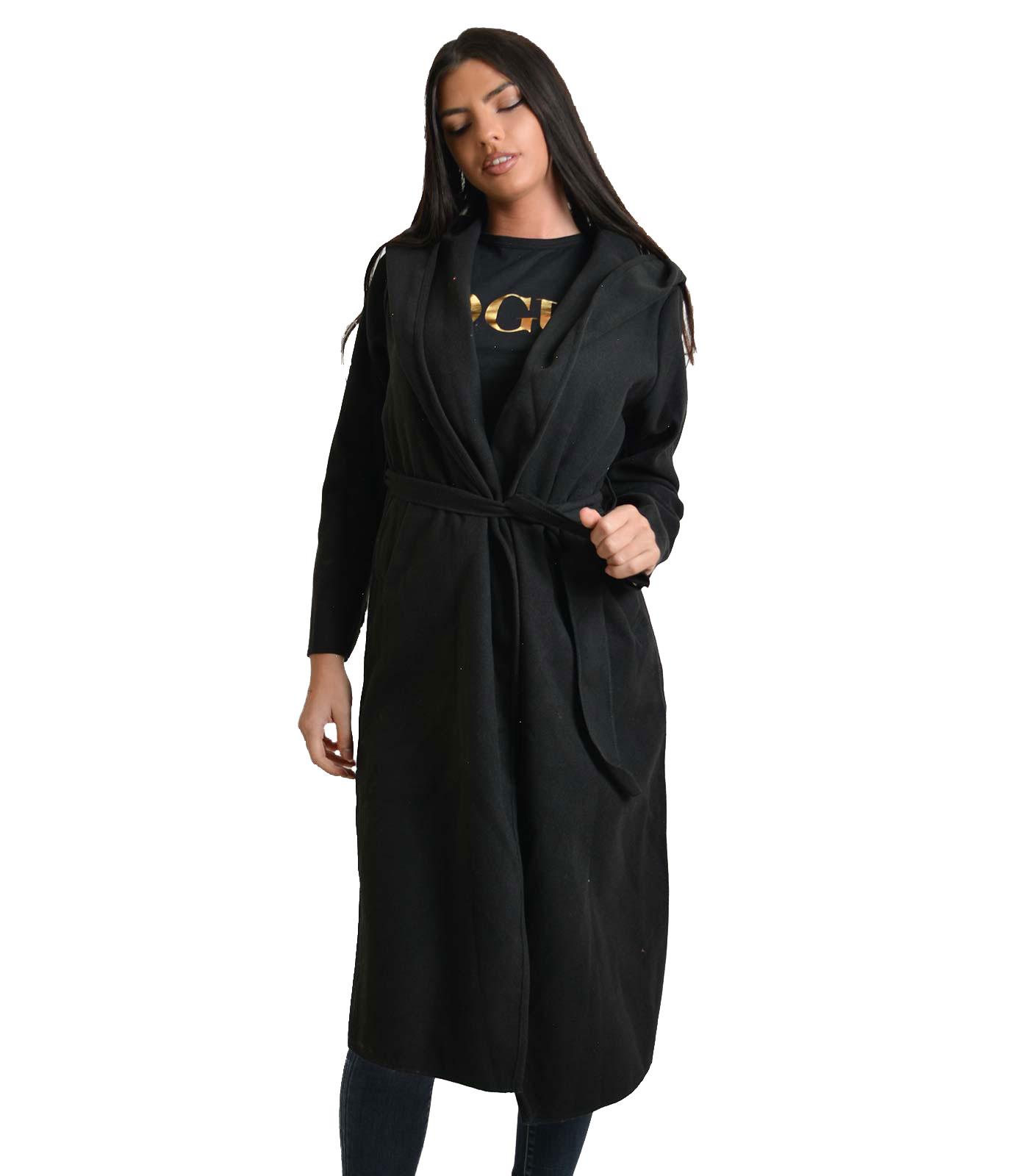 Μαύρο παλτό με κουκούλα και τσέπες