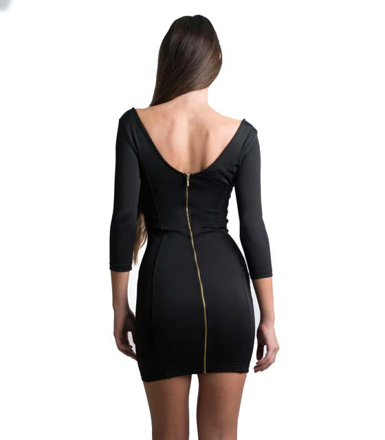 Μίνι μαύρο φόρεμα με πίσω φερμουάρ