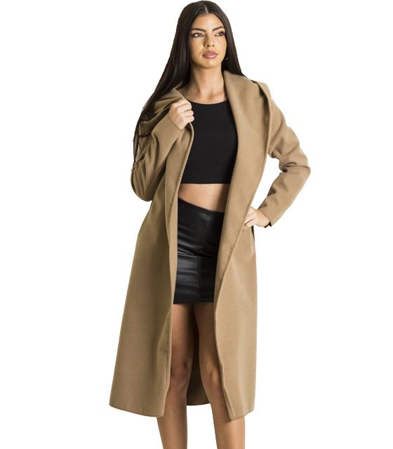 Κάμελ παλτό με κουκούλα και τσέπες