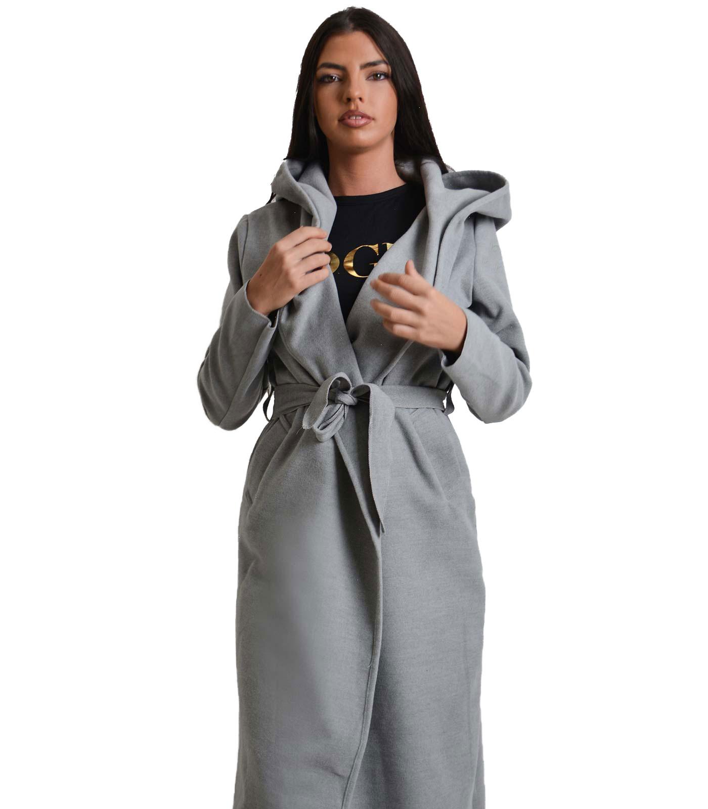 Γκρι παλτό με κουκούλα και τσέπες