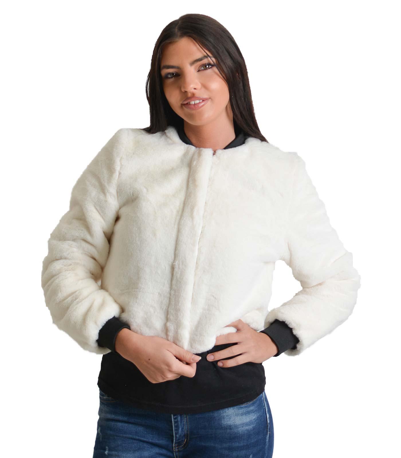 Γούνα κοντή με φερμουάρ (Λευκό)