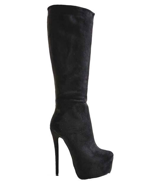 Μαύρη μπότα με ψηλό τακούνι και κόκκινο πάτο