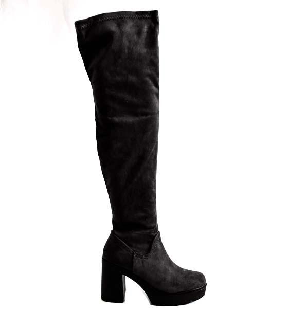Μαύρες μπότες σουέτ με φερμουάρ
