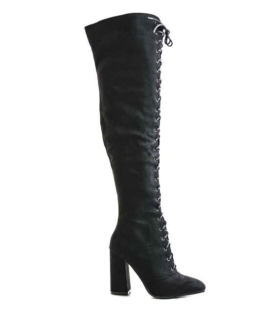 Μαύρες μπότες με χιαστή και φερμουάρ