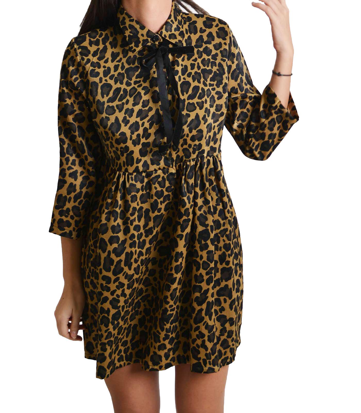 Φόρεμα λεοπάρ με φιόγκο στον γιακά και κουμπιά