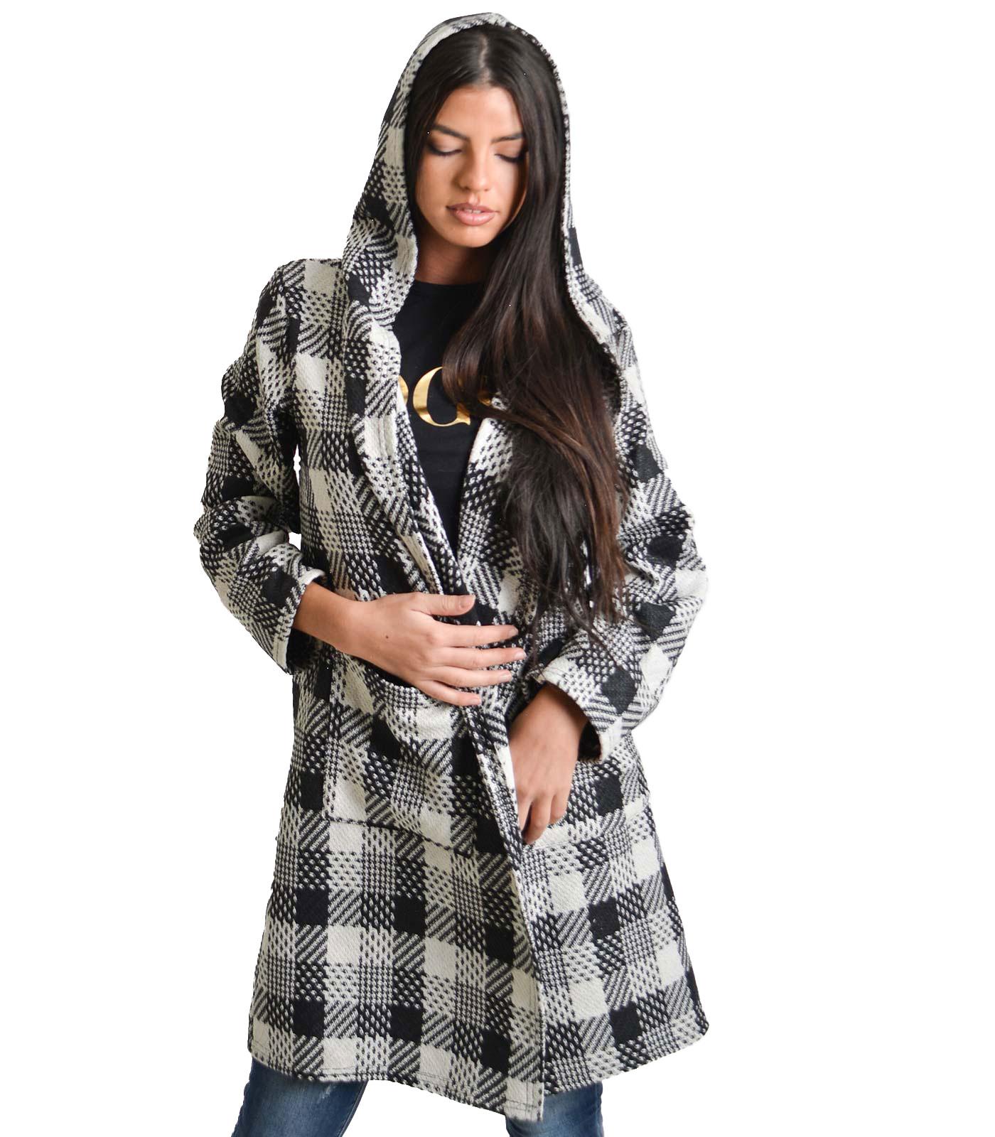 Παλτό καρό με κουκούλα και τσέπες