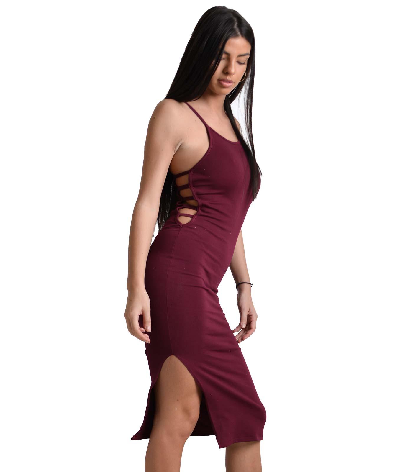 Εφαρμοστό φόρεμα τιράντα με ανοίγματα στο πλάι (Μπορντό)