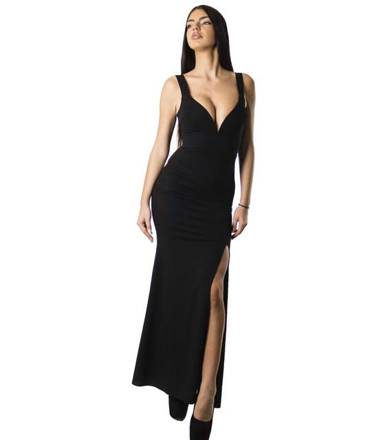 Μάξι φόρεμα με μπανέλα και φερμουάρ (Μαύρο)