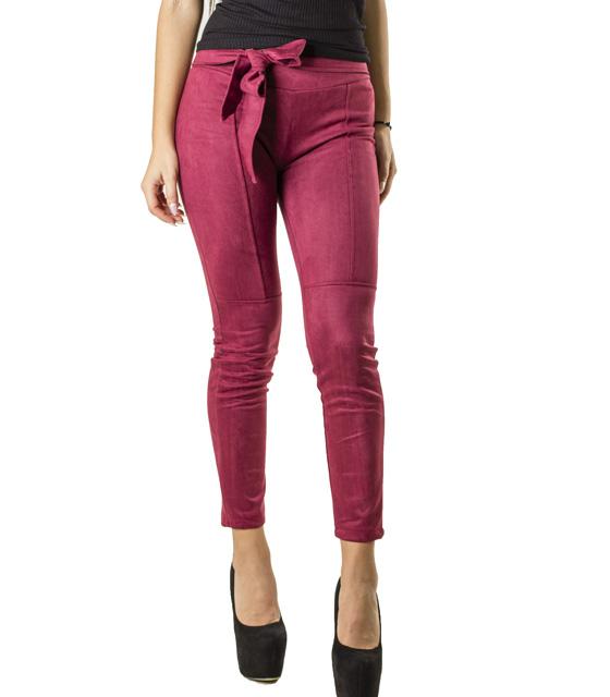 Σουέτ παντελόνι με ενσωματωμένη ζώνη (Μπορντό)