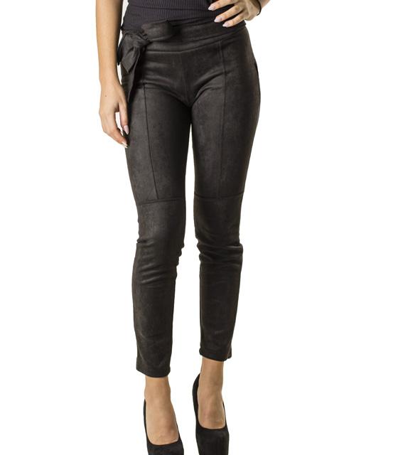 Σουέτ παντελόνι με ενσωματωμένη ζώνη (Μαύρο)