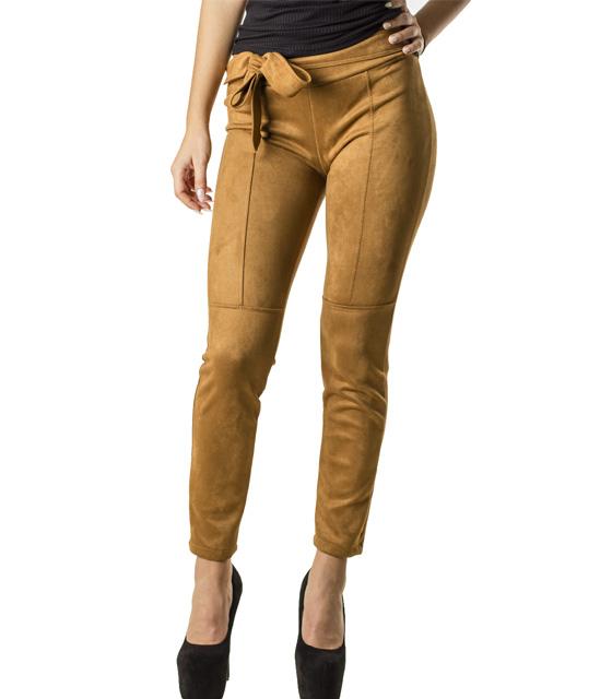 Σουέτ παντελόνι με ενσωματωμένη ζώνη (Κάμελ)