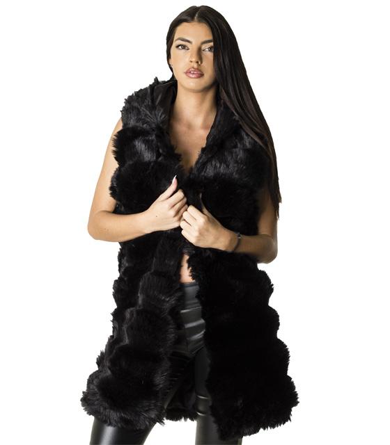 Μαύρη αμάνικη γούνα με κουκούλα